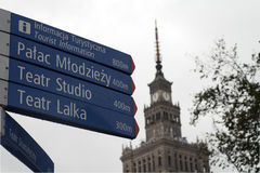 Warsaw, Poland . Road signal in city center Royalty Free Stock Image