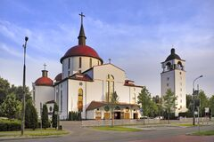 Free Warsaw, Poland - Roman-catholic Church Of Blessed Vladislaw Of Gielniow In Natolin Quarter Of Ursynow - Residential District In Stock Photos - 175630313