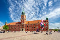 WARSAW, POLAND - 05.05.2018. Royal Castle at central square of p stock photography