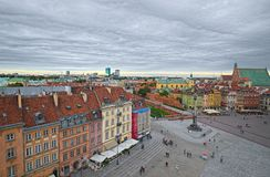 Castle Square of Warsaw, Poland. WARSAW, POLAND - SEPTEMBER 14, 2017: Castle Square of Old Town of Warsaw, UNESCO World Heritage Site. A view at overcast day royalty free stock images