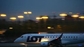 WARSAW, POLAND - SEPTEMBER 14, 2017. LOT Polish Airlines Embraer ERJ-170STD commercial airplane landing the Chopin stock video