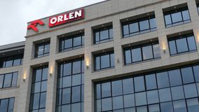 WARSAW, POLAND - SEPTEMBER 8, 2017. Orlen oil and gas company office building. WARSAW, POLAND - SEPTEMBER 8, 2017. Orlen company modern high-rise building royalty free stock photo