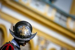 Fleur de Lis on a royal guard helmet Stock Photography