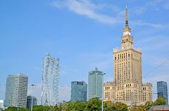 WARSAW, POLAND. A type on Palace of culture and sciences and modern skyscrapers Royalty Free Stock Photo