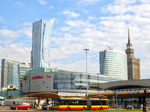 WARSAW, POLAND.A type on the Warsaw skyscrape near Sredmestye Royalty Free Stock Photography