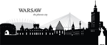 Warsaw, Poland. Vector illustration of the skyline cityscape of Warsaw, Poland Stock Photography