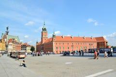 WARSAW, POLAND. A view of the Royal palace and Sigismund`s column at Zamkovaya square Stock Photography