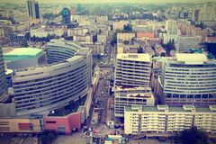Warsaw. Poland. View of skyscrapers and older architecture from famous Palace of Culture and Science, tallest building in Poland. Cross processed color tone stock images