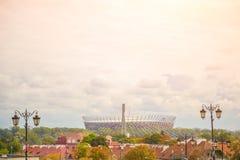 Warsaw Polen nationell stadion Konstruerades i 2011 för att möta den eurofotbollmästerskapet 2012 royaltyfri fotografi