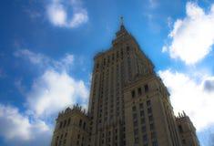 Warsaw Polen Slott för flyg- sikt av kultur och vetenskap och i stadens centrum affärsskyskrapor, centrum Arkivbilder