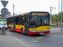 Warsaw public bus line 115 in Wawer district. stock photography
