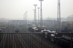 Warsaw railway node, with railway junction. And railway sorting yard, branching off. Foggy autumn day royalty free stock photography