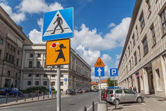 Warsaw Road Signs Royalty Free Stock Photography