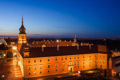 Warsaw Royal Castle at Night in Poland Royalty Free Stock Photo