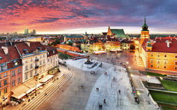 Warsaw, Royal castle and old town at sunset, Poland Royalty Free Stock Images