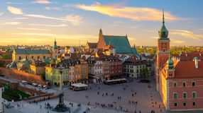 Warsaw, Royal castle and old town at sunset Royalty Free Stock Photography