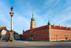 Warsaw - Royal Castle and Sigismund's Column. Walls of Royal Castle (14th century), residence of the Polish monarchs. West side view. Old Town  in Warsaw / Royalty Free Stock Photo