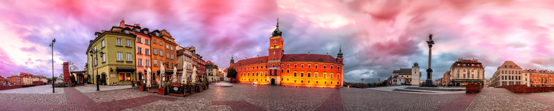 Warsaw Royal Castle Square sunrise skyline, Poland Royalty Free Stock Photos