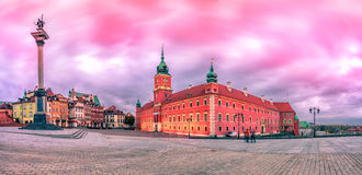 Warsaw Royal Castle Square sunrise skyline, Poland Stock Image