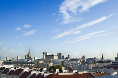 Warsaw's downtown with beautiful blue sky. High-angle open view of Warsaw's downtown with beautiful blue sky and clouds. View including modern office buildings Stock Image