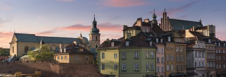 Warsaw`s historical old town roofs panorama. During sunset in summer Stock Photography