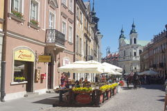 Warsaw's New Town with Church of the Holy Spirit Stock Photos