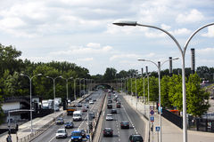 Warsaw's streets, Poland. This is traction bridge, in Warsaaw Stock Photo