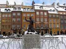 Warsaw Siren. Monument of Siren on marketplace in Old Town in Warsaw, Poland Stock Photo
