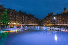 Warsaw Ski Rink at Old Town by Christmas Night Royalty Free Stock Images