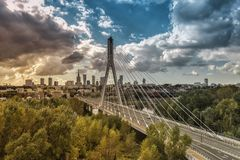 Warsaw skyline behind the bridge, Poland Stock Photos