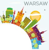 Warsaw Skyline with Color Buildings, Blue Sky and Copy Space. Royalty Free Stock Photos