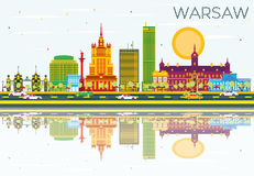 Warsaw Skyline with Color Buildings, Blue Sky and Reflections. Vector Illustration. Business Travel and Tourism Concept with Historic Architecture. Image for Royalty Free Illustration