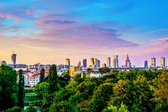 Warsaw Skyline from different View stock photography