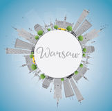 Warsaw skyline with grey buildings, blue sky and copy space. Stock Images