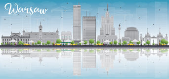 Warsaw skyline with grey buildings, blue sky and place for text Stock Photos