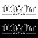 Warsaw skyline. Linear style. Design template. Warsaw skyline. Linear style. Editable vector Design template royalty free illustration