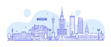 Warsaw skyline Poland city buildings vector Stock Images