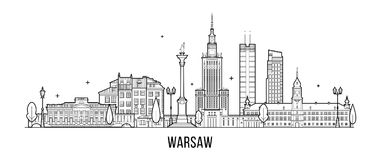 Warsaw skyline Poland city buildings vector. Warsaw skyline, Poland. This illustration represents the city with its most notable buildings. Vector is fully royalty free illustration