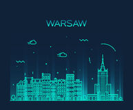 Warsaw skyline silhouette illustration linear Royalty Free Stock Photography