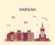 Warsaw skyline silhouette illustration linear Stock Image