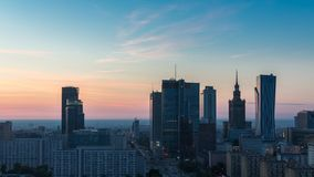 Warsaw Skyline Sunrise Timelapse, Poland stock footage