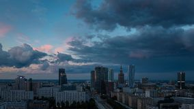 Warsaw Skyline Sunrise Timelapse, Poland stock video