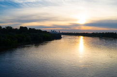 Warsaw skyline, sunset. Sunset captured from the Siekierkowski bridge in Warsaw, Poland Royalty Free Stock Photos