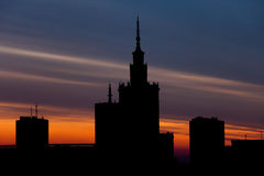 Warsaw Skyline at Sunset in Poland Stock Image