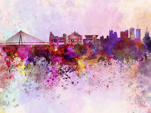 Warsaw skyline in watercolor background Royalty Free Stock Photography
