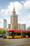 Warsaw street with Palace of Culture and Science Royalty Free Stock Photo