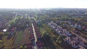 Warsaw suburbs and Vistula river view from above stock footage