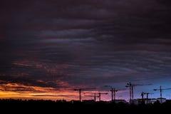 Warsaw sunset night city in Eastern Europe Royalty Free Stock Image