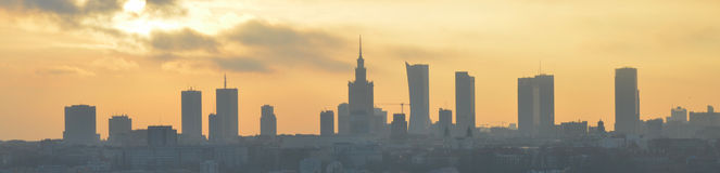 Warsaw sunset panorama. Panorama of Warsaw, capital city in Poland,  aerial view,  centrum city Stock Images