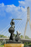 Warsaw Symbol. Mermaid statue that represents the symbol of Warsaw, poland Stock Photos